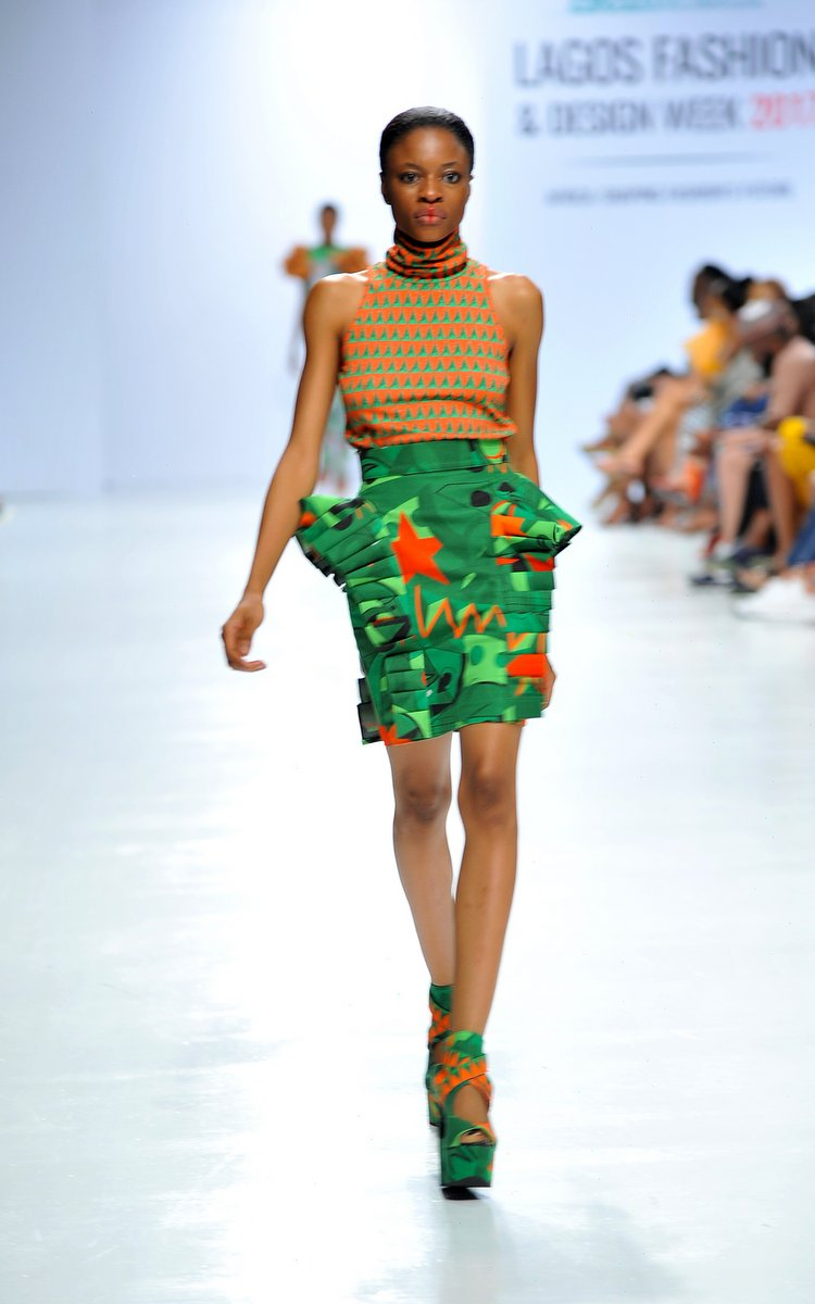 Model wearing a piece from the Africa Inspired Fashion by Heineken at the Heineken Lagos Fashion And Design Week 2017 006