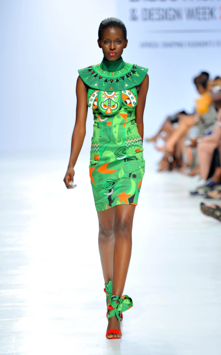 Model wearing a piece from the Africa Inspired Fashion by Heineken at the Heineken Lagos Fashion And Design Week 2017 01